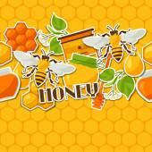 Modèle sans couture avec des autocollants de miel et abeille — Vecteur