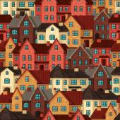 Town seamless pattern with cottages and houses — Stock Vector
