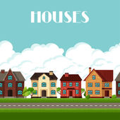 Town seamless border with cottages and houses — Stock Vector
