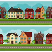 Town seamless borders with cottages and houses — Stock Vector