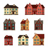 Town icon set of cottages and houses — Stock Vector