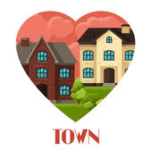 Town background design with cottages and houses — Stock Vector