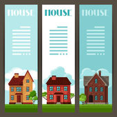 Town vertical banners design with cottages and houses — Stock Vector