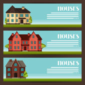 Town horizontal banners design with cottages and houses — Stock Vector