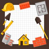 Industrial background design with housing construction objects — Stock Vector