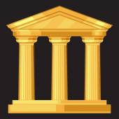 Doric realistic antique greek temple with columns — Stock Vector