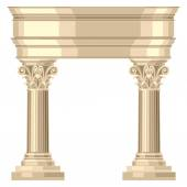 Corinthian realistic antique greek temple with columns — Stock Vector