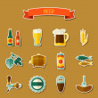 Beer sticker icon and objects set for design — Stock Vector #72654493