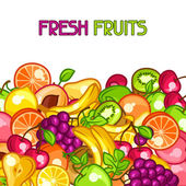 Background design with stylized fresh ripe fruits — Stock Vector