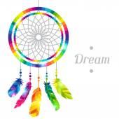 Collettore di sogno con piume trasparente brillante astratte — Vettoriale Stock