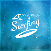 Surfing label on meshes background with stains — Stock Vector