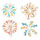 Set of abstract colorful fireworks and salute — Stock Vector