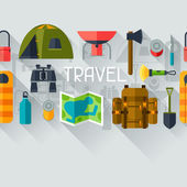 Tourist seamless pattern with camping equipment in flat style — Stock Vector