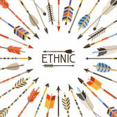 Ethnic background with indian arrows in native style — Stock Vector
