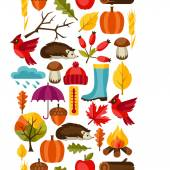 Seamless pattern with autumn icons and objects — Stock Vector