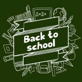 Back to school background with hand drawn icons on chalk board — Stock Vector