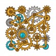 Steampunk collage of metal gears in doodle style — Stock Vector #77956358