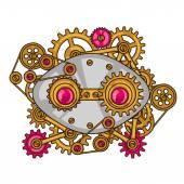 Collage de Steampunk de engranajes del metal en estilo doodle — Vector de stock