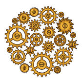 Steampunk collage of metal gears in doodle style — Stock Vector