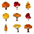 Set of autumn abstract stylized trees. Natural illustration — Stock Vector #78011772
