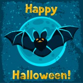 Happy halloween greeting card with flying bat — Stock Vector
