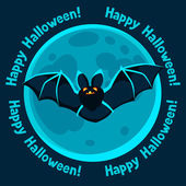 Happy halloween greeting card with moon and flying bat — Stock Vector