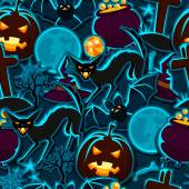 Happy halloween seamless pattern with stickers characters and objects — Stock Vector