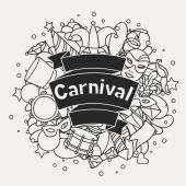 Carnival show background with doodle icons and objects — Stock Vector