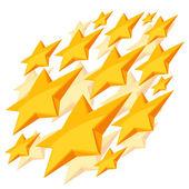 Shiny golden stars falling on white background — Stock Vector