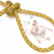 Постер, плакат: Russian ruble in the rope loop