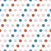 Multicolored polka dot seamless background. — Stock Vector