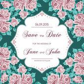 バラとビンテージのウェディング招待状 — ストックベクタ