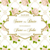 Vintage wedding invitation with roses — Stock Vector