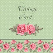 Vintage flower card with roses — Stock Vector