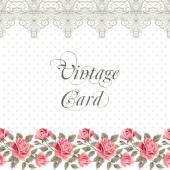 Cartão de flor vintage com rosas — Vetor de Stock