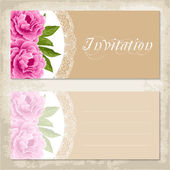 Vintage invitation template with peony — Stock Vector