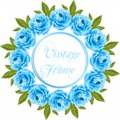 Vintage frame with peonies — Stock Vector