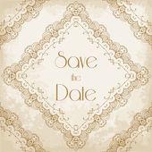 Vintage wedding invitation with lace border — Vetor de Stock