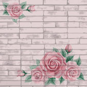 Vintage bricks background with roses — Stock Vector
