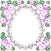 Vintage flower frame with geranium — Stock Vector