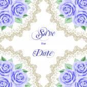 Vintage bröllopsinbjudan med rosor — Stockvektor