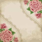 Old paper background with roses — Stock Vector