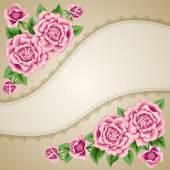 Tarjeta de flor vintage con rosas — Vector de stock