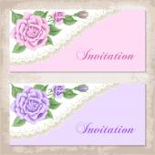 Vintage invitation template with roses — Stock Vector