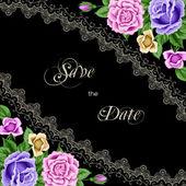 Vintage πρόσκληση πρότυπο με τριαντάφυλλα — Διανυσματικό Αρχείο