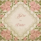 Pozvánka na ročník svatbu s růží — Stock vektor