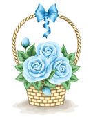 Basket with roses — Stock Vector