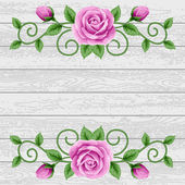 Wood background with roses — Stock Vector