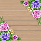 Holz Hintergrund mit Rosen — Stockvektor
