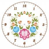 Russian Gorodets clockface — Stock Vector
